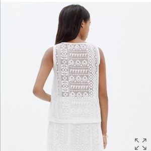 Madewell White Geo Laced Tank Top